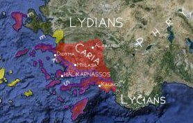 Map of Caria and regions where Carians and Leleges used to inhabit