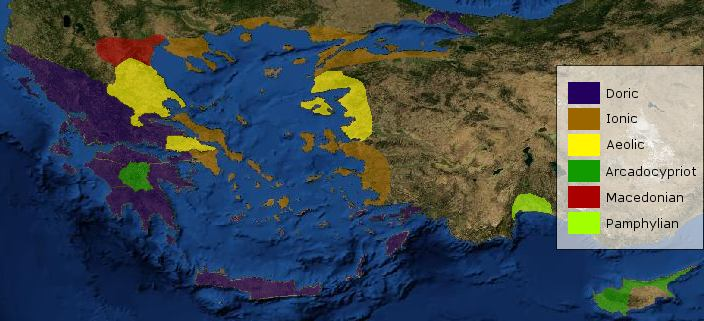 Geographic distribution of the Greek dialects
